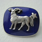 "Antique Silver Blue Enamel ""Aries"" Sign Of The Zodiac Miniature Brooch"