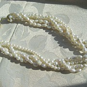 Vintage Fine Four Strand 16 Inch Cultured And Fresh Water Pearl Necklace