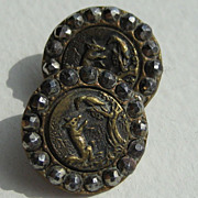 Antique Set Of Five French Brass And  Marcasite Figural Children's Buttons
