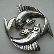 Unusual Vintage Sterling Double Fish Brooch