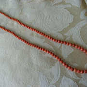 Antique Salmon Coloured  Italian  Coral Necklace With Metal Clasp