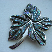 Large Vintage Mexican Sterling And Abalone Leaf Brooch