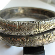 "Antique Silver Turkoman ""Rattle"" Bracelet"