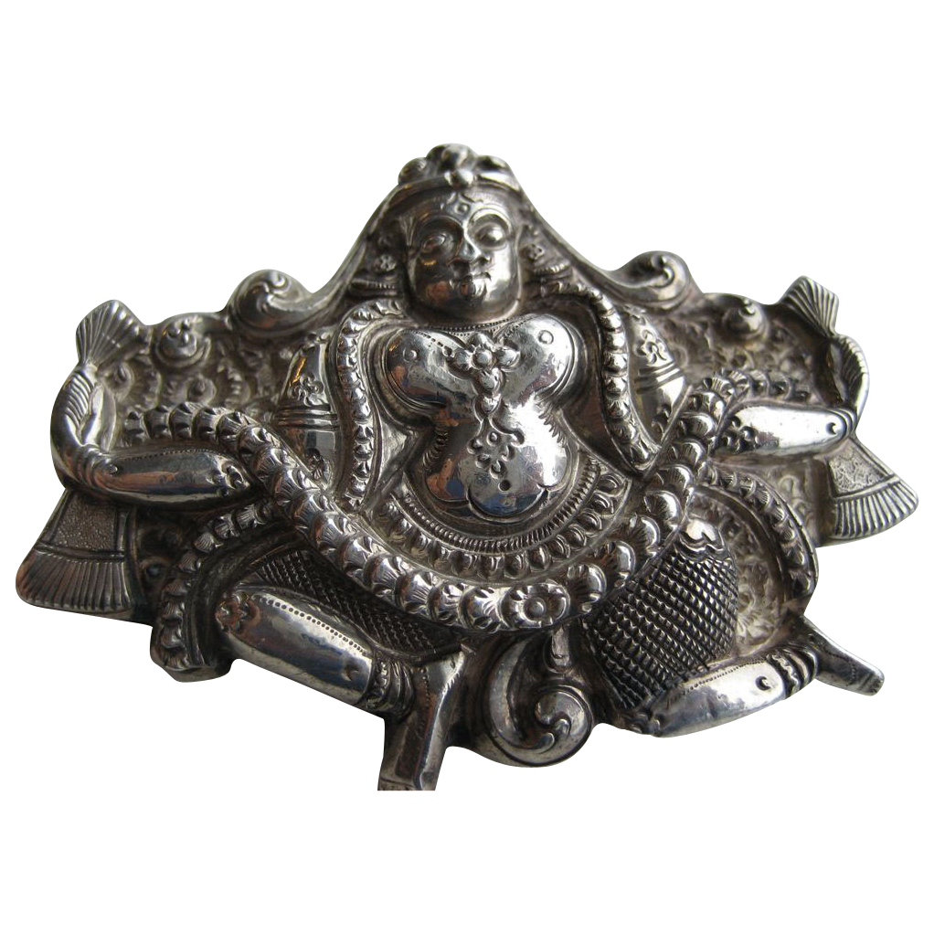 Vintage Anglo Indian Madras Swami Silver Brooch