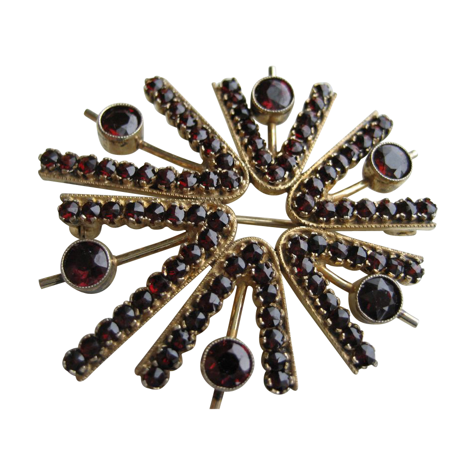 Vintage Modernist Silver Gilt Bohemian Garnet Brooch