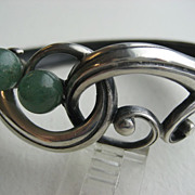 Vintage Sterling Ottaviani Modernist Italian Bracelet Set With Two Aventurine Spheres