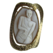 Vintage Modernist Hand Carved &quot;Asian Lady With Fan&quot; Cameo In 14 Kt Yellow Gold Pendant /Brooch Frame