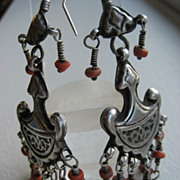 Vintage Afghan Tribal Silver And Coral Dangly Earrings