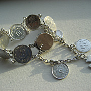 Antique Mexican And British Victorian Sterling Silver Coin Love Token Maltese Cross Bracelet
