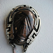 Late 1940's Mexican Sterling Carved Jasper Aztec Warrior Mask Brooch/Pendant