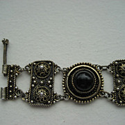 Vintage Silver Gilt  (925) Yemenite  Israeli Hand Made Filigree Bracelet Set With Onyx Cabocho