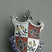 "Vintage Canadian Birk's  Sterling Enamel ""May Court Club"" Pin"