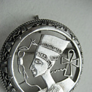Vintage Egyptian Sterling Hand Made Hallmarked Queen Nefertiti Brooch/Pendant