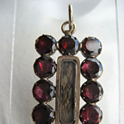Antique 9ct. Gold Georgian Garnet Mourning Pendant