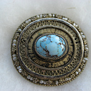 Antique 935 Silver Gilt Filigree Turquoise And Seed Pearl Brooch