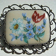 Vintage Finnish Painted Porcelain In Silver Gilt Frame Brooch
