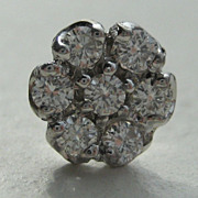 Vintage Gentleman's 10 Kt White Gold Tie Pin With Seven Brilliant Cut Diamonds