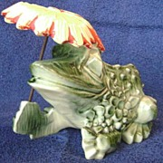 Vintage McCoy Frog Planter with Umbrella ~NICE~