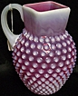 Large Cranberry Hobnail Pitcher with Applied Handle