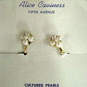 Alice Caviness Cultured Pearl Earrings G.F. on original card