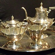 Gorham Sterling Coffee Set with Tray Plymouth Pattern