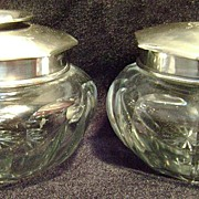 Whiting Sterling Silver & Crystal Hair Receiver & Puff Jar
