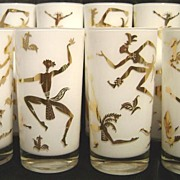 Vintage Set of Eight (8) Native Dancers Drinking Glasses