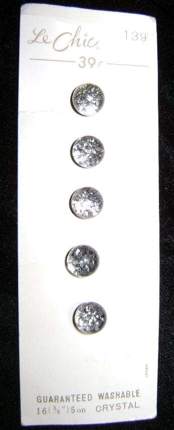 Vintage Crystal Buttons 5 Mint on Card Le Chic
