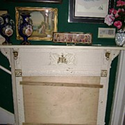 Antique Cast Iron Fireplace Surround & Fender Griffins Cherubs Bulldogs