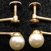 14K Yellow Gold Classic Pearl Earrings