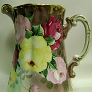Antique Nippon Royal Kinran Yellow Rose Milk Pitcher