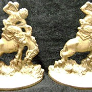 1930 Cowboy on Bronco Cast Iron Bookends Saddle Bronc Riding