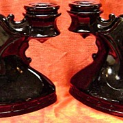 Black Amethyst Double Candelabra Pair Double Shield