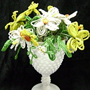 Vintage Beaded Flower Bouquet Arrangement in Fenton Wine Goblet