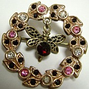 Circular Clear, Pink & Ruby Red Rhinestone Butterfly Brooch Pin
