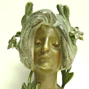 Bronze Art Nouveau Beautiful Woman Statuette LYS