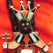 Fantastic Laiwakete Zuni Ghan Dancer Bolo Tie Sterling Turquoise, Jet, Coral & Mother of Pearl