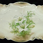 Exquisite RS PRUSSIA Celery Dish with Lillies
