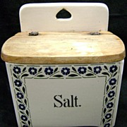 German Stoneware Decorated Salt Box with Wooden Lid