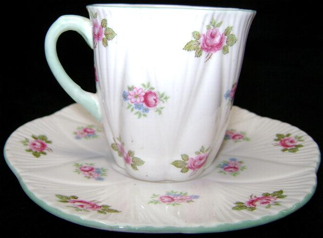 Shelley Six Fluted Rosebud Demitasse Cup & Saucer