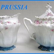 Beautiful R.S. Prussia Lusterware Lidded Sugar & Creamer Roses