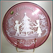 Bohemian Crystal 1973 Cranberry Christmas Plate Mary Gregory