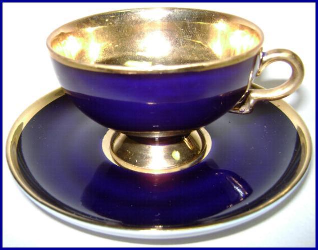 Stunning Cobalt & Gold Trim Johann Haviland Footed Cup & Saucer