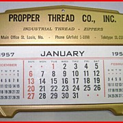 Propper Thread Painted Tin Calendar 1957 St. Louis, Missouri