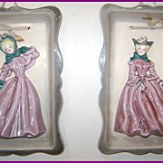Vintage Florence Ceramics Pasadena Plaques Pair of Blonds