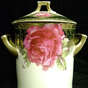 Gorgeous Imperial Austrian Milk Can Holder Fuschia Roses