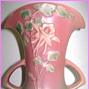Stunning Roseville Columbine 2-Handle Vase 16-7