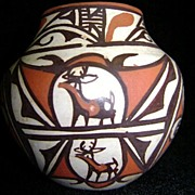 Acoma Zuni Pottery Polychrome Water Pot by Jennie Laate