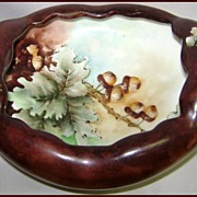 Bavarian Hand Painted Footed Bowl Oak & Acorns signed M. Corbett