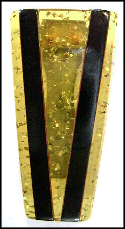 Art Deco Confetti Lucite with Inlaid Bakelite Dress Clip